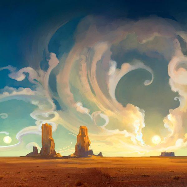 Abstract Desert Rocks Landscape Illustration Desktop Wallpaper 600x600 - تصویر سازی