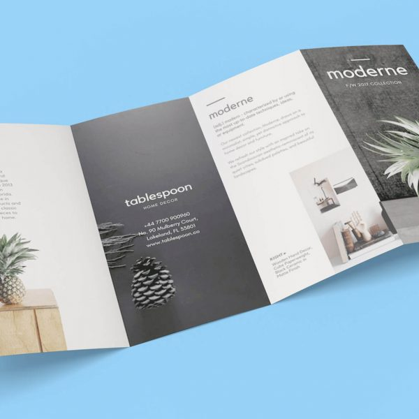 Free 4 Panel Quad Fold Brochure Mockup PSD File 600x600 - چاپ بروشور