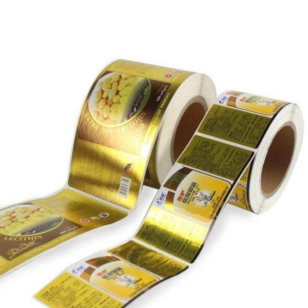 PET printing labels gold hologram foil 600x600 - چاپ لیبل