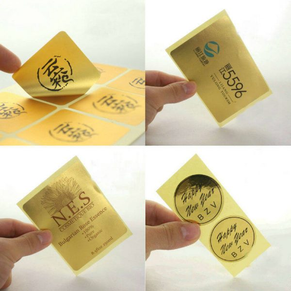 Self adhesive label Printing Custom logo high gloss gold label sticker 600x600 - چاپ لیبل
