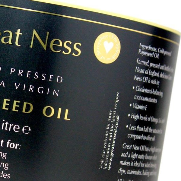 great ness oil labels with gold foil 600x600 - چاپ لیبل